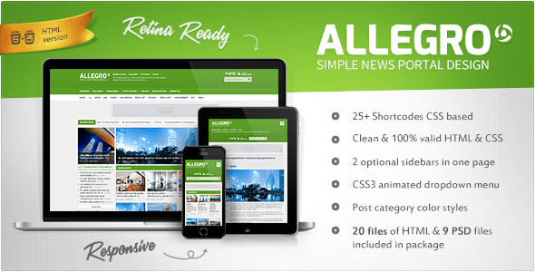 Allegro - Multipurpose News, Magazine HTML - Corporate Site Templates
