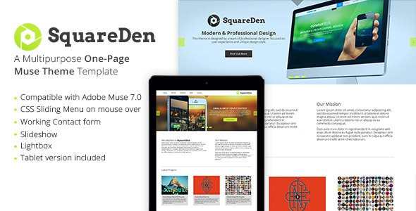 SquareDen - One Page Muse Template - Creative Muse Templates