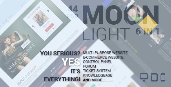 MoonLight Multipurpose/eCommerce PSD Template - Photoshop UI Templates