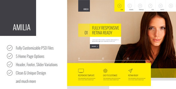 Amilia – Multipurpose PSD Template - Corporate PSD Templates