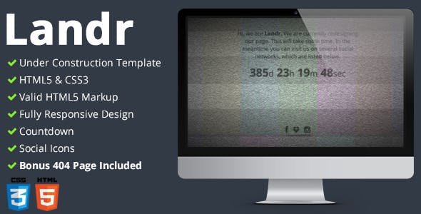 Landr - Responsive Coming Soon Page