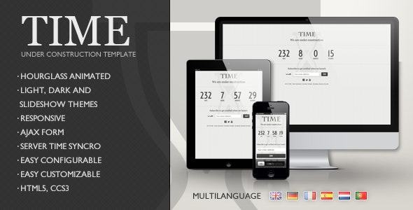 TIME - Responsive Coming Soon Page - Under Construction Specialty Pages
