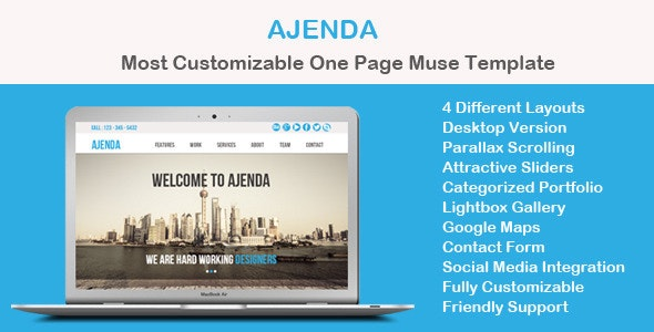 Ajenda - Multi-purpose One Page Muse Template - Corporate Muse Templates