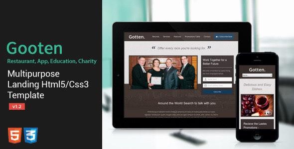 Gotten - Restaurant, App, Education, Charity Landing Page - Marketing Corporate