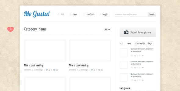Me Gusta!  User-driven Content Sharing Theme
