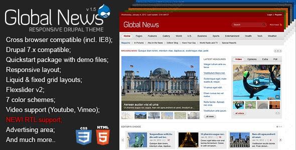 Global News Portal - Responsive Drupal Theme - News / Editorial Blog / Magazine