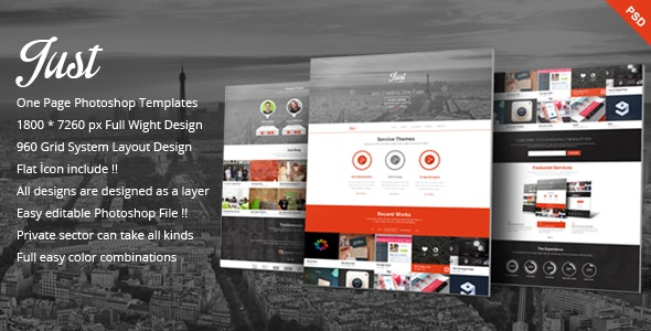 Just  - One Page Web Templates Design - Creative Photoshop