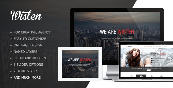 Wisten One Page PSD Theme - Creative Photoshop