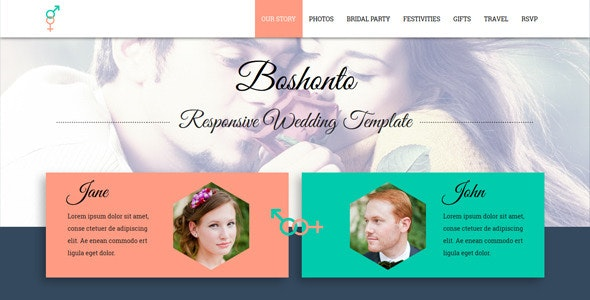 Boshonto Responsive Wedding Template - Wedding Site Templates