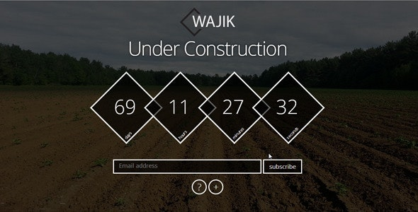 WAJIK Responsive Coming Soon Page - Under Construction Specialty Pages