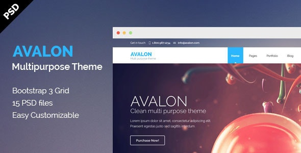 Avalon - Multipurpose PSD Theme - Photoshop UI Templates
