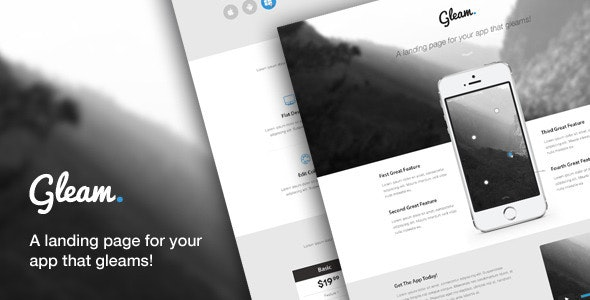 Gleam - Ultimate App Landing Page - Creative PSD Templates