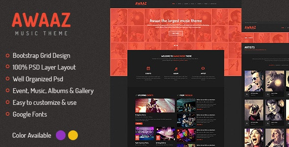 Awaaz Music PSD Template - Entertainment Photoshop