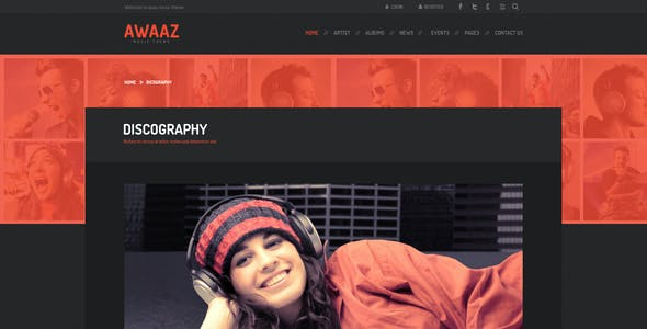 Awaaz Music PSD Template