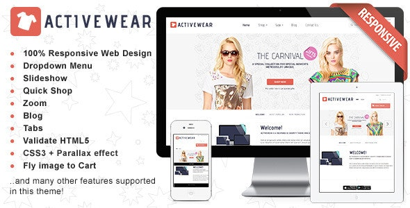 Responsive HTML Theme - ActiveWear - Shopping Retail