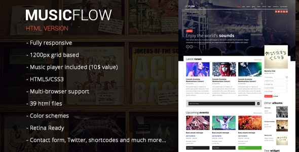 MUSICFLOW - Complete Entertainment Template - Music and Bands Entertainment