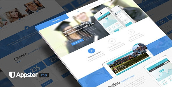 Appster - Ultimate App Landing Page Psd Template - Marketing Corporate