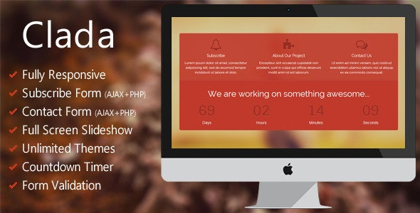 Clada - Responsive Coming Soon Page - Under Construction Specialty Pages