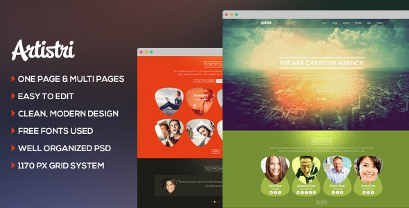 Artistri - Creative One Page and Multi Page PSD - Creative Photoshop