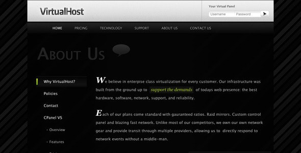 VirtualHost - Premium Hosting PSD Template - Hosting Technology