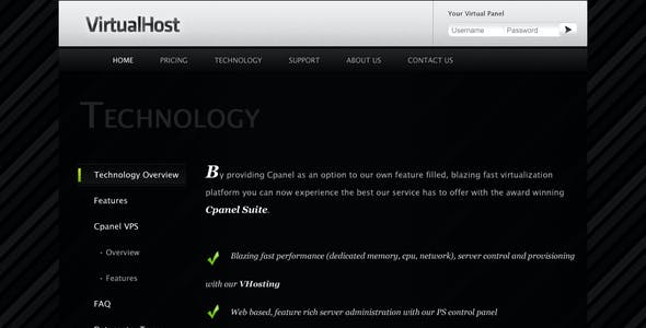 VirtualHost - Premium Hosting PSD Template