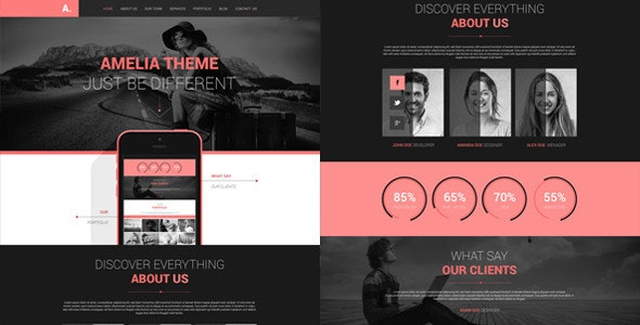Amelia - One Page PSD Portfolio Template - Creative Photoshop