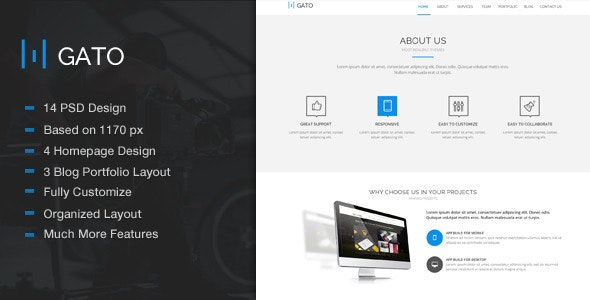 Gato - Amazing One Page Psd Template - Creative Photoshop