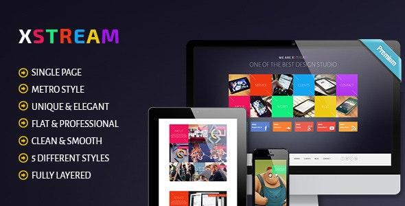 XTREAM - Metro Style Single Page PSD Theme - Portfolio Creative