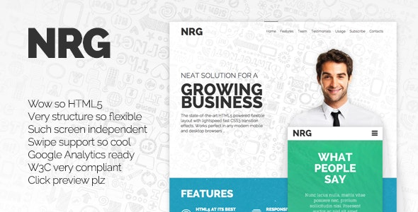 NRG - Responsive Landing Page - Creative Landing Pages