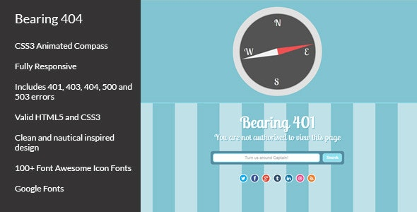 Bearing 404 - Responsive Error Pages - 404 Pages Specialty Pages