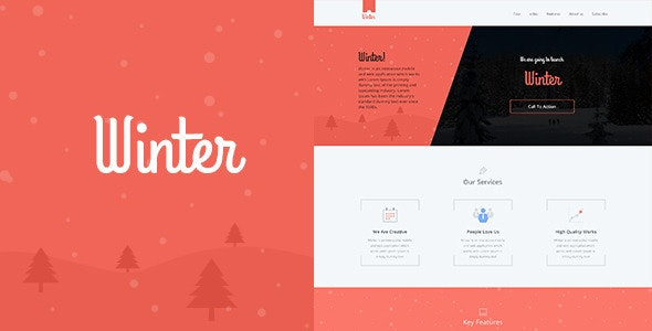 Winter One Page Colorful PSD Template - Business Corporate