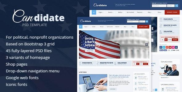 Candidate - Political / Nonprofit PSD Template - Nonprofit Photoshop