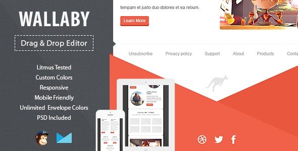 Wallaby Responsive Email Template with Editor - Email Templates Marketing