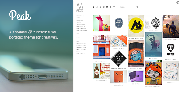 Peak: a popular and exquisitely made responsive WordPress portfolio theme with a sidebar menu - Creative WordPress