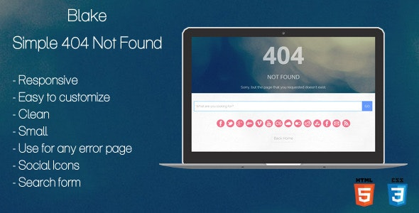 Blake - 404 Not Found Page - 404 Pages Specialty Pages