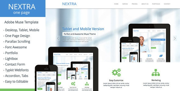 Nextra - One Page Muse Template - Corporate Muse Templates