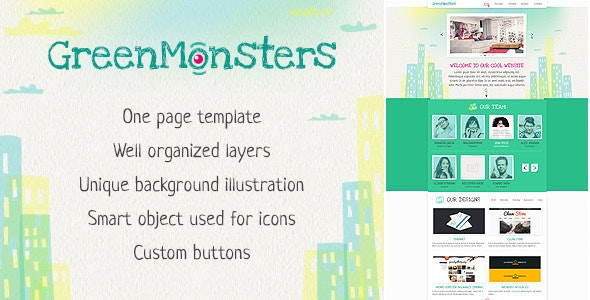 GreenMonsters One Page PSD Template  - Creative Photoshop