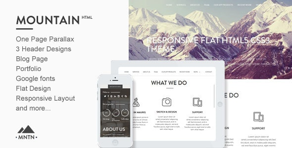 Mountain -One Page Parallax Html Template - Creative Site Templates