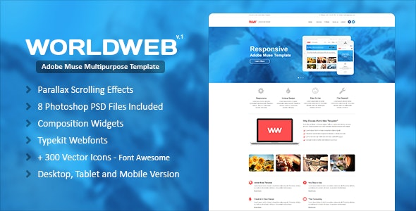 WorldWeb Muse Template - Corporate Muse Templates