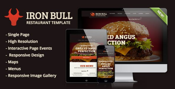 Iron Bull Responsive Restaurant Template