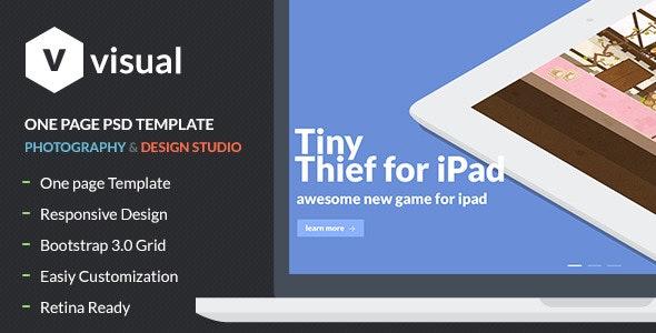 Visual - Multipurpose Flat Onepage PSD Design - Photoshop UI Templates