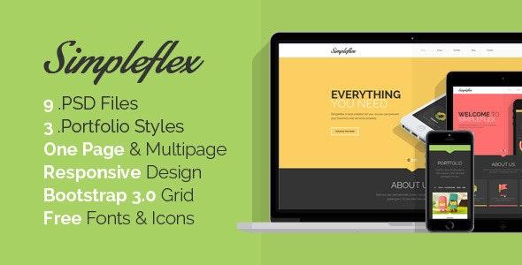 Simpleflex - OnePage & MultiPage Flat PSD template - Creative Photoshop