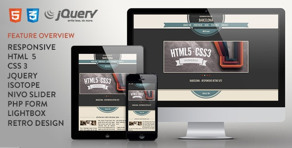 Barcelona - Responsive One Page Retro Template - Creative Site Templates