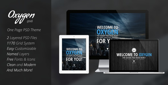 Oxygen One Page PSD Theme - Creative Photoshop