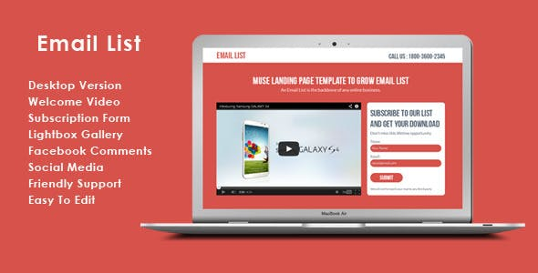 Email List - Muse List Building Landing Page