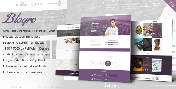Blogro - One page Personal web design - Personal Photoshop