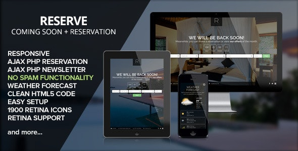 Reserve - Coming Soon - Under Construction Specialty Pages