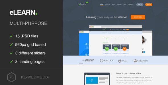 eLearn - Multi-Purpose PSD Template - Film & TV Entertainment