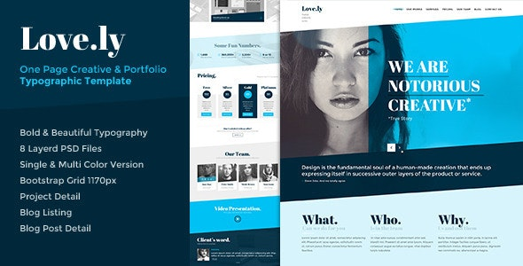 Love.ly - One Page Typographic Parallax PSD - Creative Photoshop