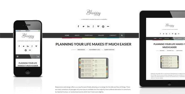 Bloggy WP - Responsive Minimalist WordPress Theme - Personal Blog / Magazine